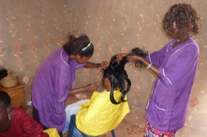 learning how to be a hairdresser in africa