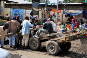 tractor bringing produce in africa