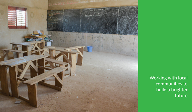 Desks in rural school classroom